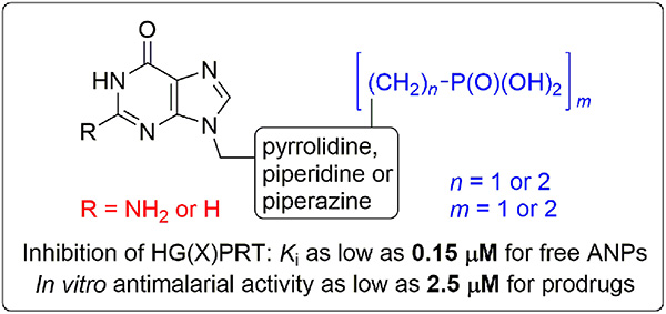 Nucleotide analogues containing a pyrrolidine, piperidine or piperazine ring: Synthesis and evaluation of inhibition of plasmodial and human 6-oxopurine phosphoribosyltransferases and <i>in vitro</i> antimalarial activity