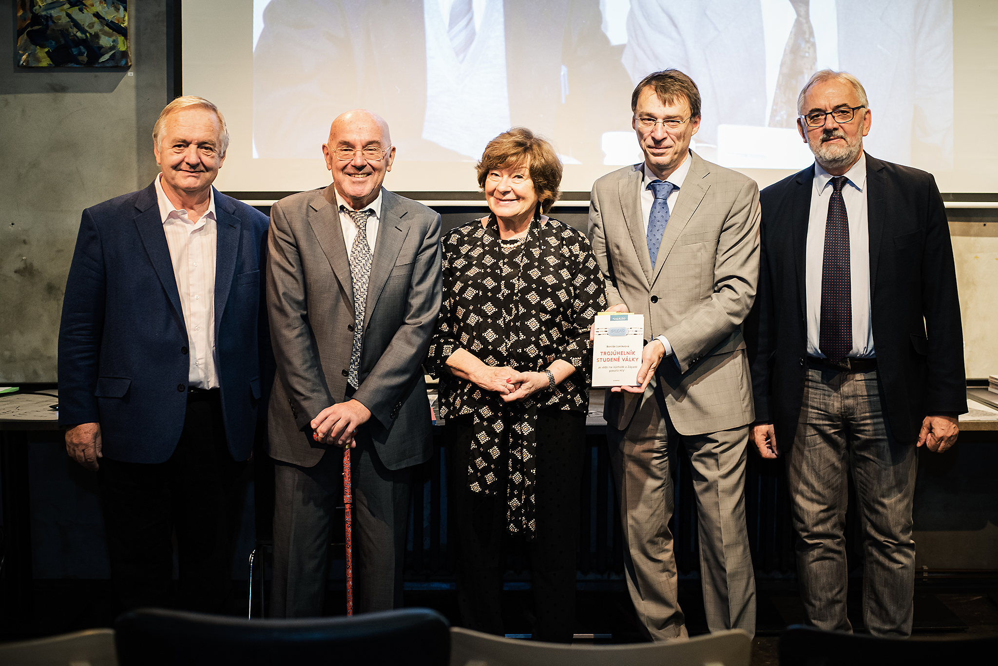 From the left: Dr. Zdeněk Havlas, former director of IOCB Prague; Prof. Erik De Clercq; author Renilde Loeckx; translator Jaroslav Kurfürst; and Prof. Libor Grubhoffer, director of the Biology Centre of the CAS